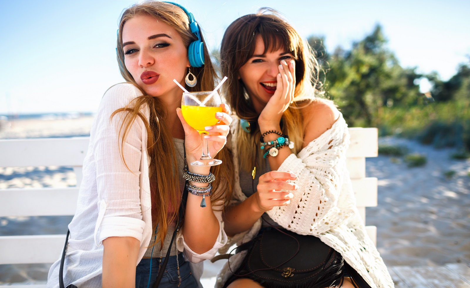 Two,Happy,Funny,Hipster,Girls,Having,Fun,On,Beach,Summer