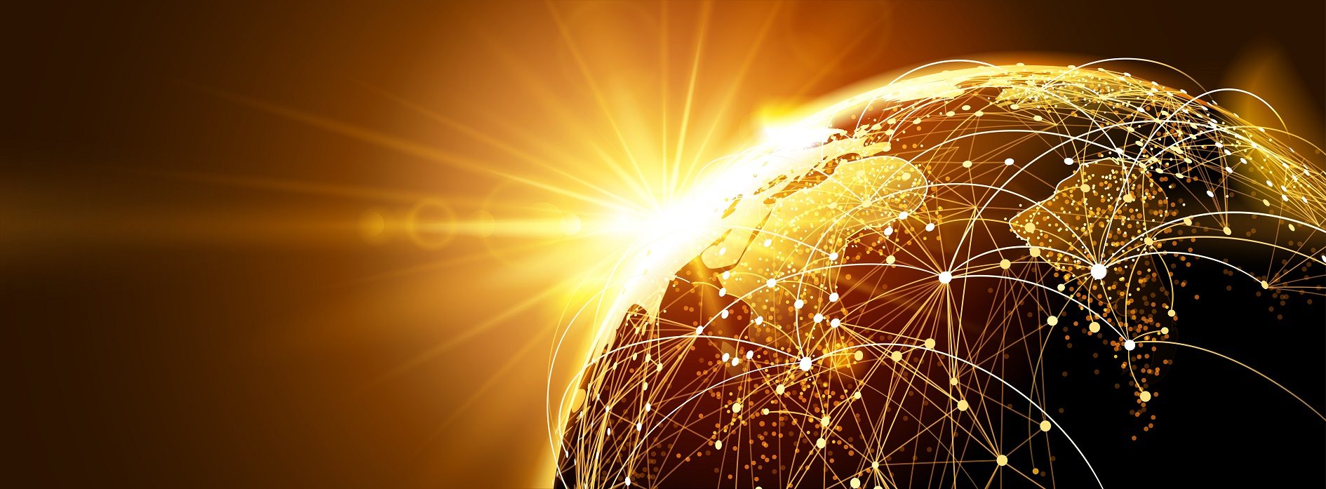 Highly,Detailed,Planet,Earth,With,Sunrise.,Global,Network.,Vector,Illustration